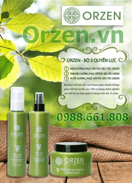 bộ sản phẩm phục hồi tóc siêu tốc orzen cmc được chiết xuất 100% từ thảo dược thiên nhiên, được chứng nhận 100% ogranic quốc tế.
